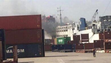 صورة لحريق في الباخرة بمرفأ بيروت، قناة أم تي في اللبنانية
